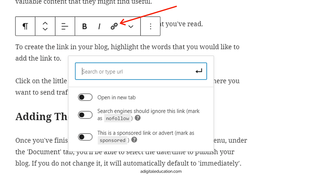 how to add a hyperlink to text in your blog on wordpress - use the chain/link icon.