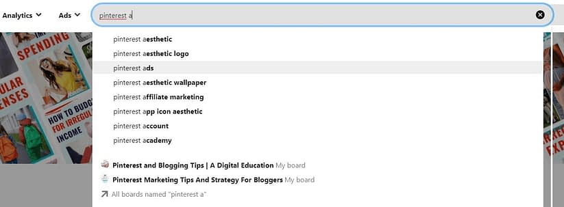 Explore different keywords in Pinterest by using main keywords in the search bar