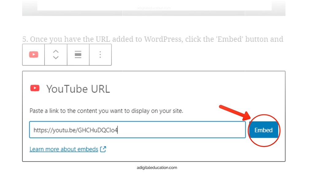 Enter the YouTube Share link into the WordPress blog post block and click Embed