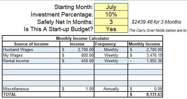 Screenshot from the Simple Start Budget System displaying the Income Personal Budget Category while starting your Excel Budget Spreadsheet.