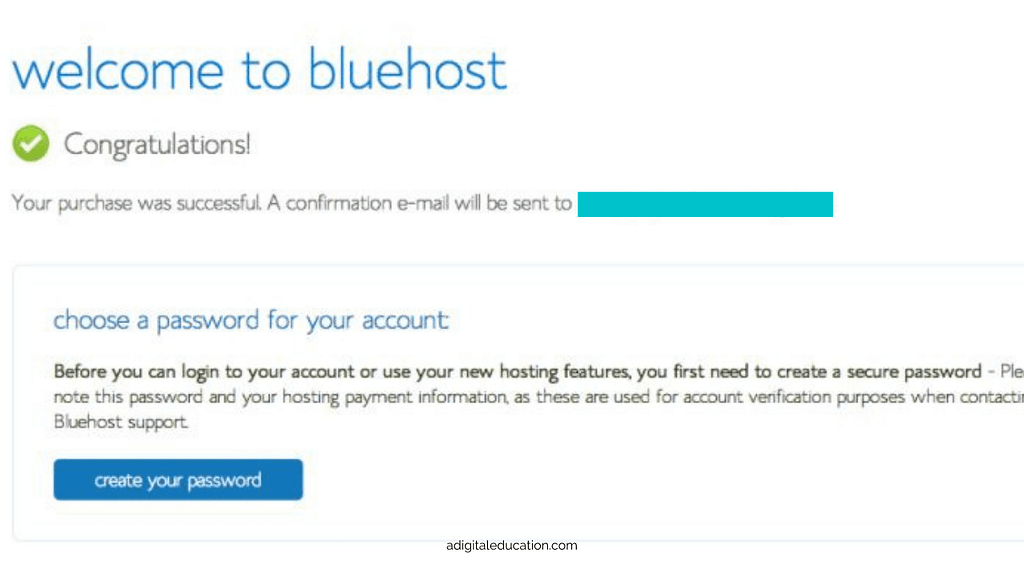 confirmation of bluehost account being set up while creating a blog