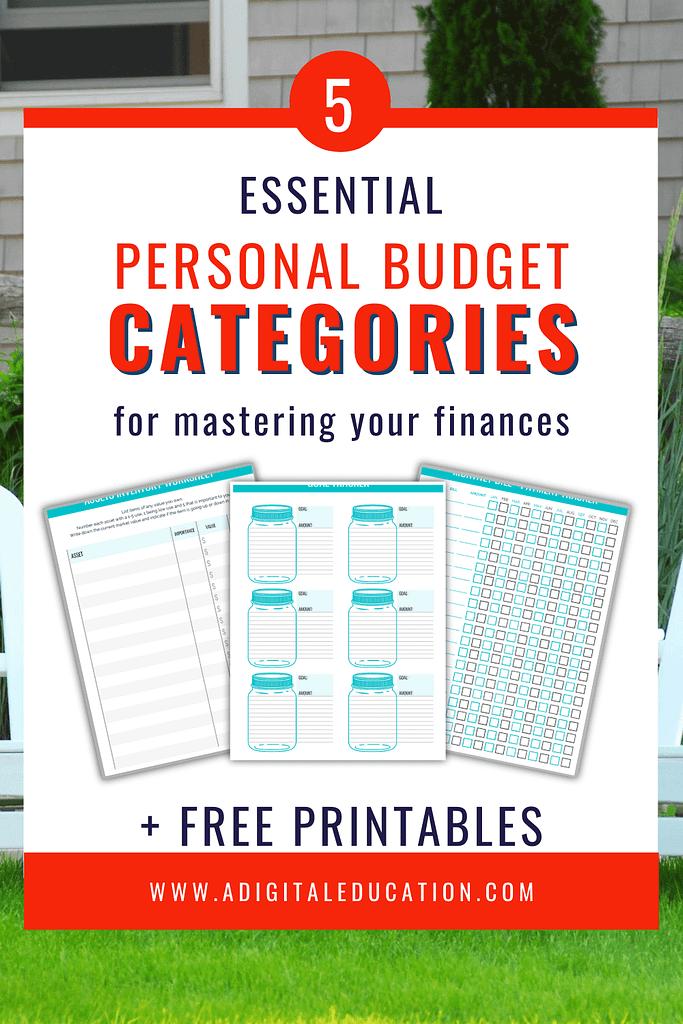 5 essential personal budget categories plus free printables