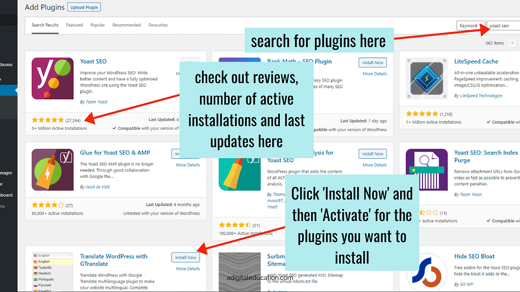 how to check WordPress plugins and install new plugins on your WordPress Dashboard.